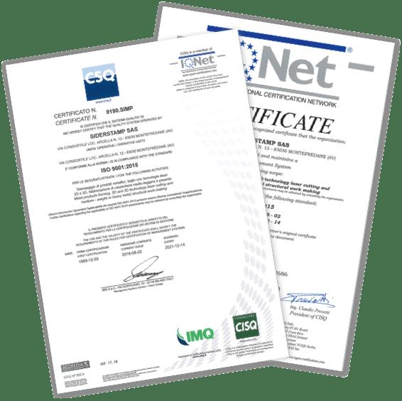 Certificazioni Siderstamp